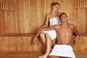 Finnische Sauna oder Dampfbad